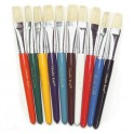 Flat Wooden Handle Brushes 10/set