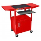Adjustable Presentation Cart with Drop Leaf Shelves - Red