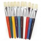 Flat Wooden Handle Brushes 10/set