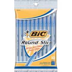 Bic Round Stic Ballpoint Pens Blue