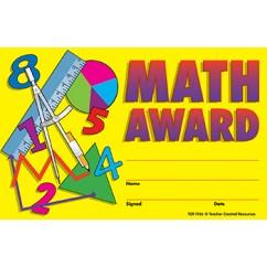 Math Awards 25pk 8-1/2 X 5-1/2