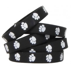 Black W White Paw Prints Wristbands