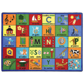 Bilingual Phonics Classroom Rug | Spanish teaching rug | Educational Rugs
