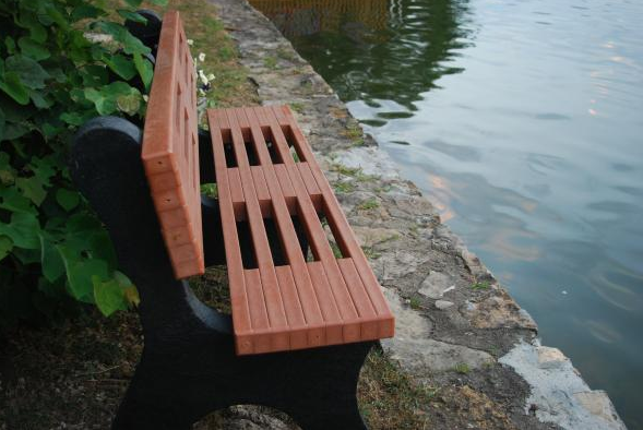 Contemporary Recycled Park Bench - Red