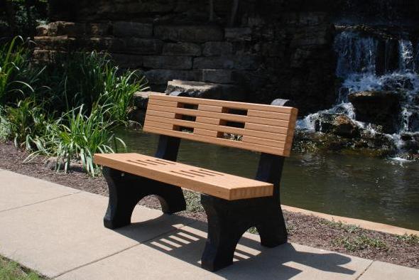 Contemporary Recycled Park Bench - Cedar