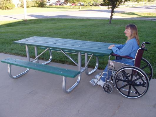 ADA Recycled Picnic Table with Galvanized Frame