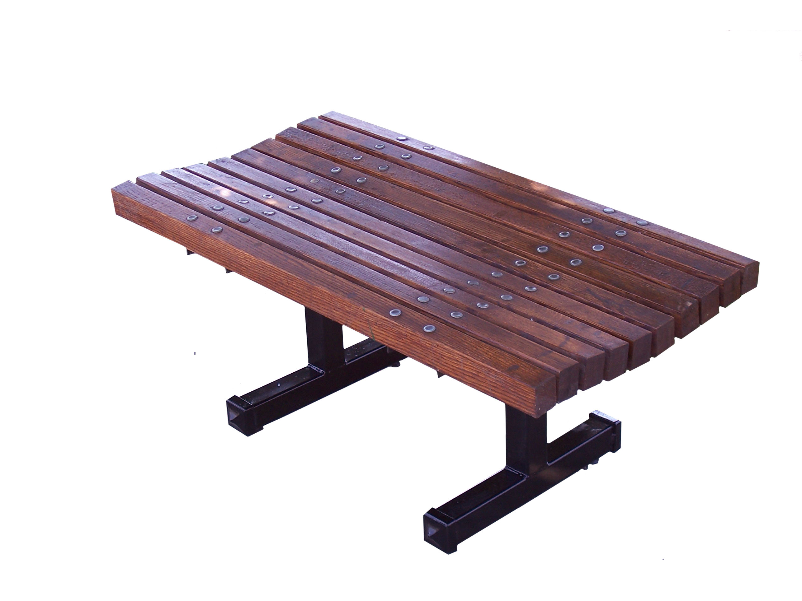 Contoured Backless Wooden Bench | Wood Park Benches