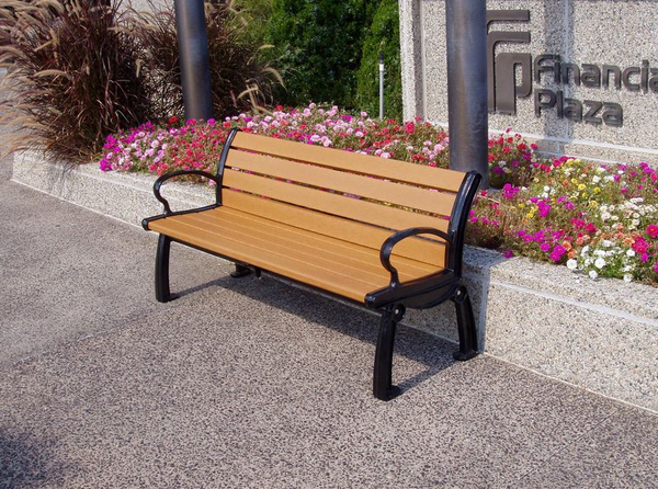 Recycled Outdoor Benches with Back - Black Frame