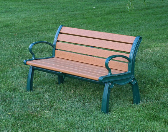 Recycled Outdoor Benches with Back - Green Frame