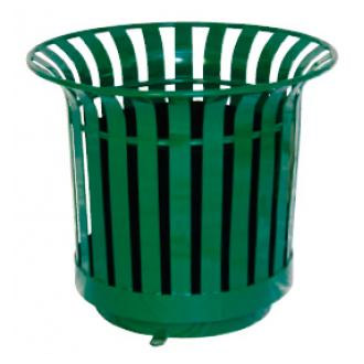 Round Slatted Steel Planter