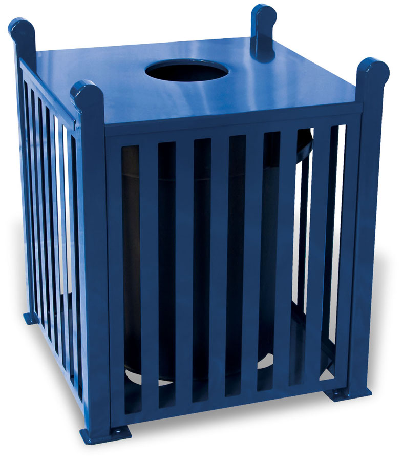 Slatted Steel Trash Receptacle