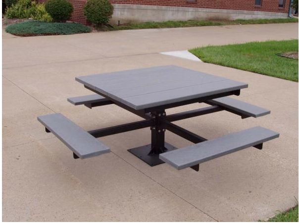 Recycled Square Picnic Table - Gray