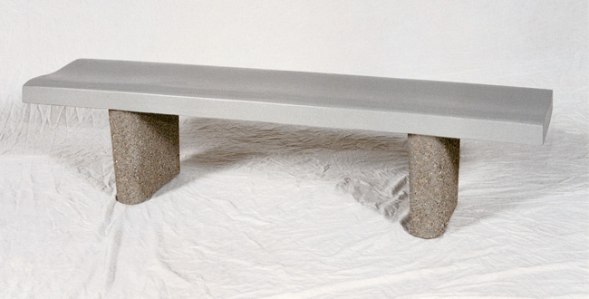 6' Backless Concrete Bench w/ Curved Seat