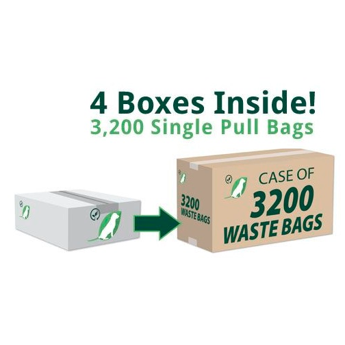 Single Pull Dog Waste Bags, case 3200