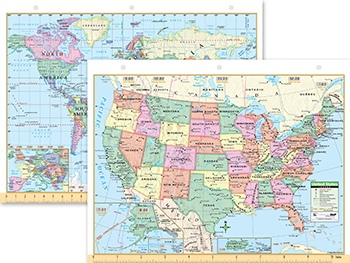 Us World Notebook Map X - 8 1 2 x 11 us map