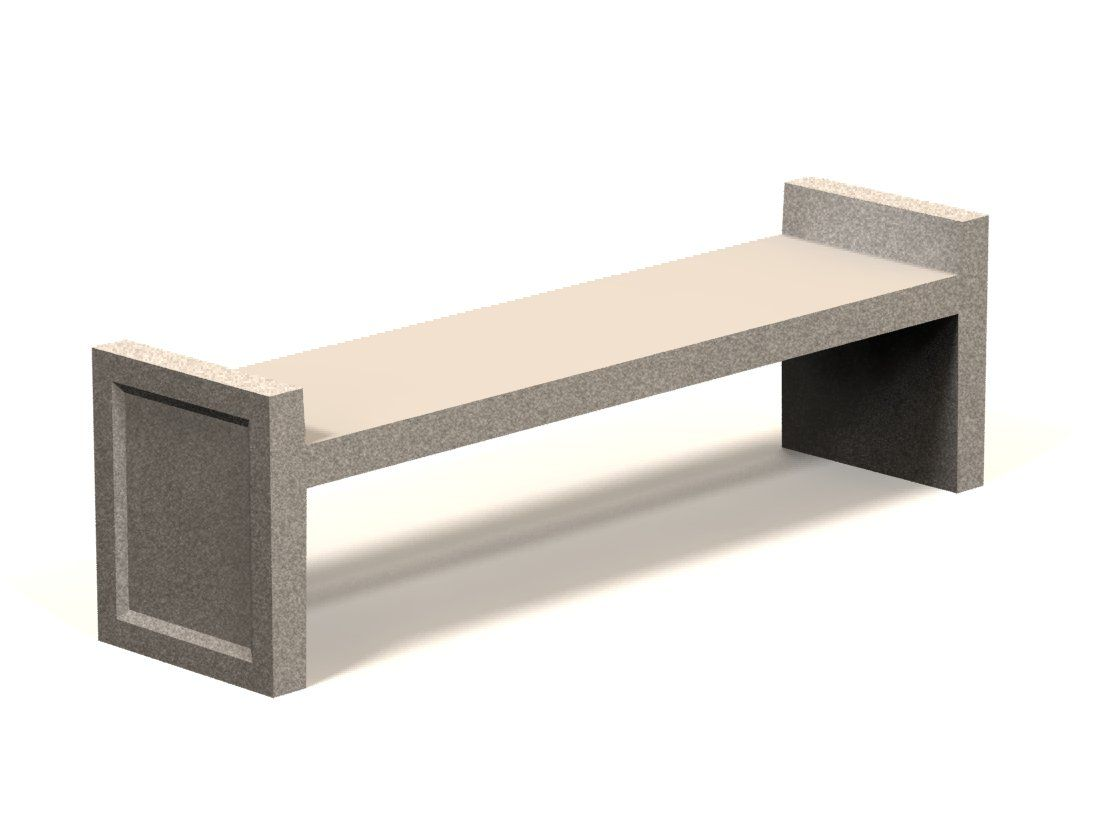 6' Flat Backless Concrete Bench