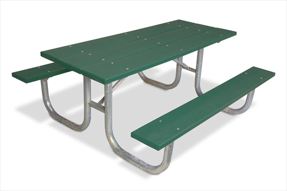 Plastic Picnic Table : Extra Heavy-Duty Picnic Table, 8, Recycled Green Plastic Planks
