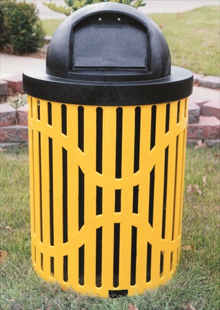 Ribbed Steel Trash Receptacle - 32 Gallon