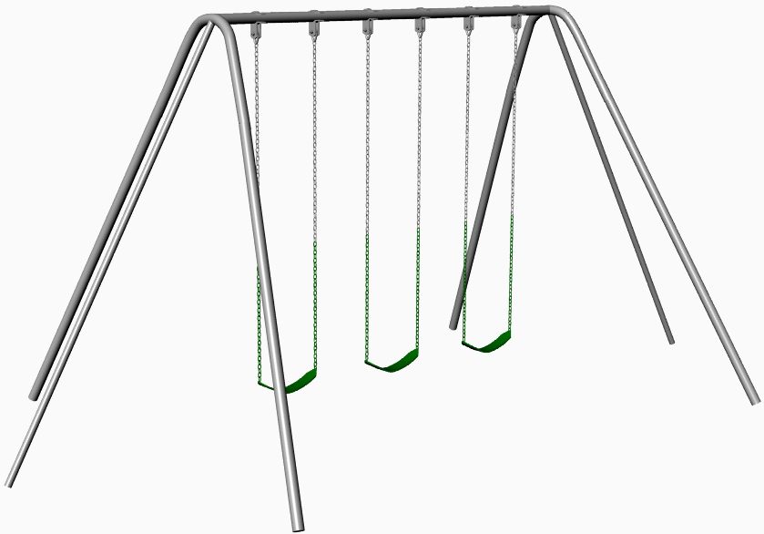 Three Seat Tripod Galvanized Swing Set - 12ft